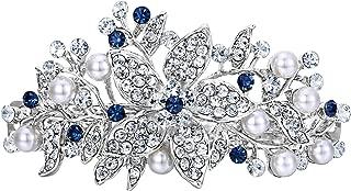 EVER FAITH Austrian Crystal Bridal Hibiscus Cream Simulated Pearl Hair Clip Barrette Silver-Tone