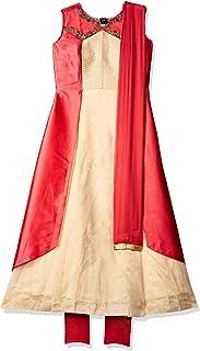 SOCH Women's cotton anarkali Salwar Suit Set (NC CD 1503-CREAM-CORAL_ Cream_ X-Large)