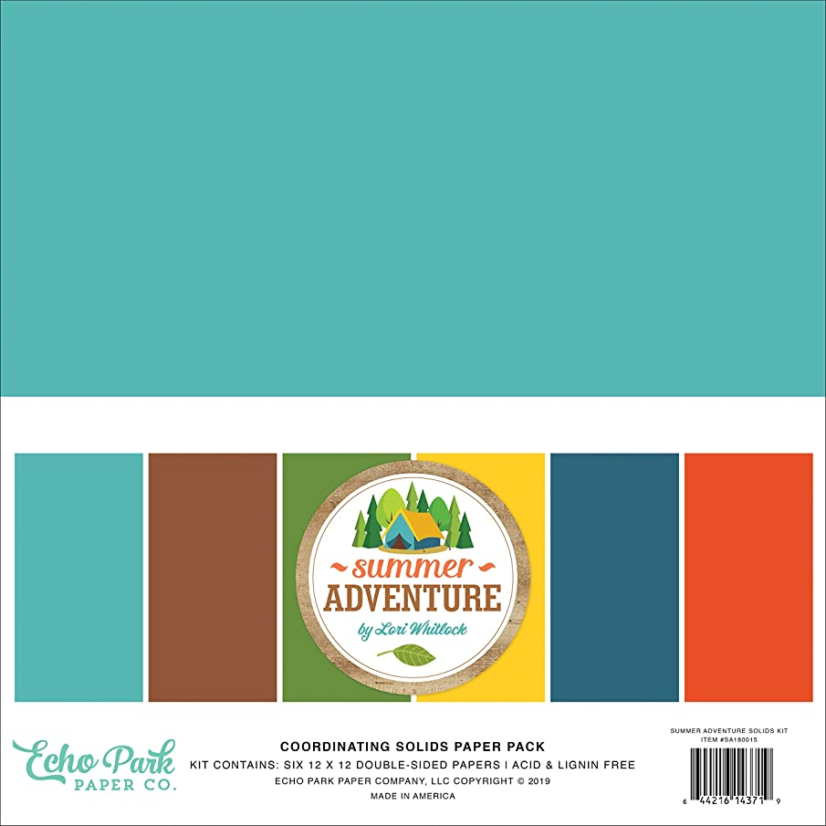 Echo Park Paper Company SA180015 Summer Adventure Solids Kit Paper, Teal, Brown, red, Navy, Green, Orange
