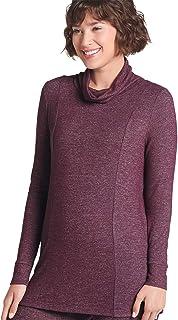 Jockey Women's Activewear Ribbed Sleeve Cowl Neck Tunic, Aubergine, M