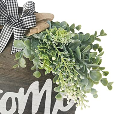 Loyalpart Wreaths for Front Door Decor Spring Welcome Sign Wreath for Front Door Outside Wall Decorations Hanging Outdoor Euc
