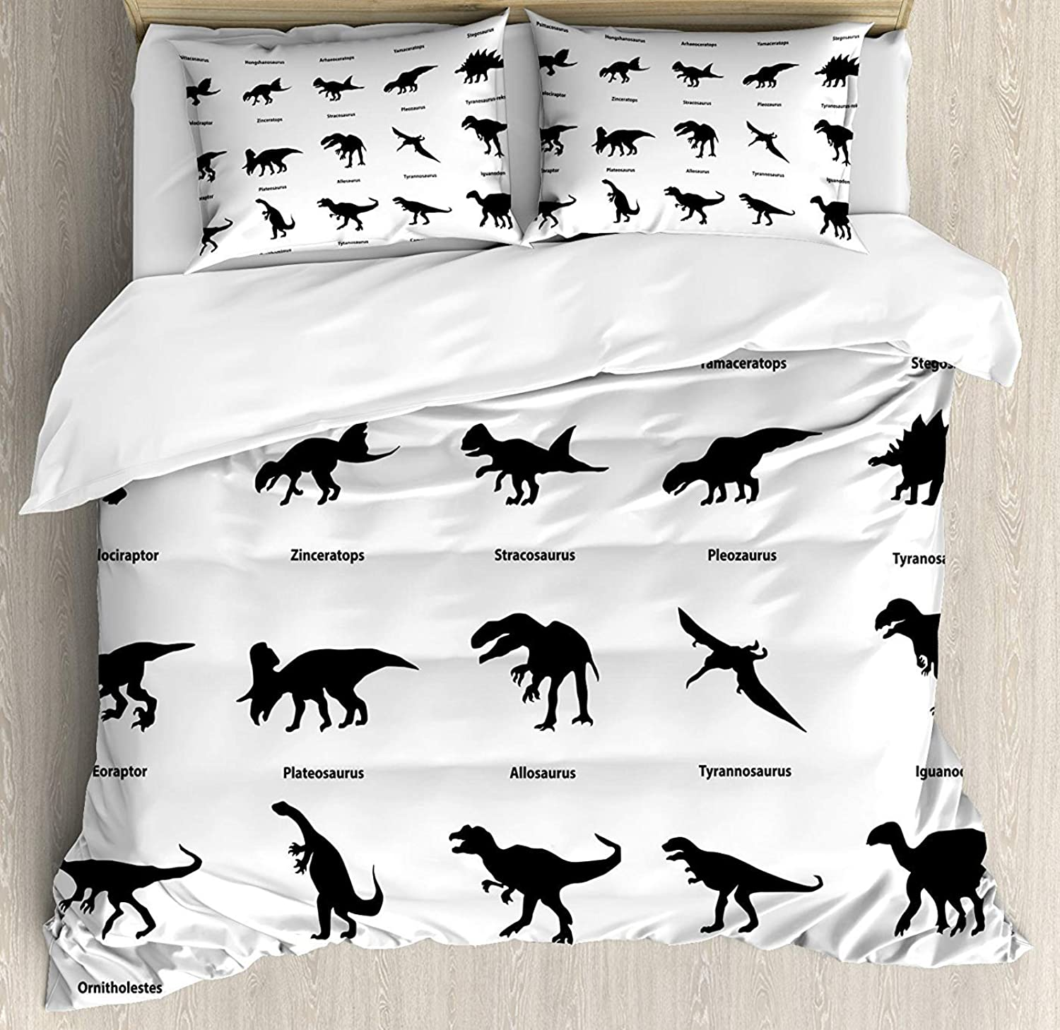 Fandim Fly Dinosaur Bedding Set Full Size, Collection of Different Dinosaurs Silhouettes with Their Names Evolution Wildlife,Comforter Cover Sets for All Season, Black White