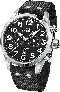 TW Steel Men's Volante Stainless Steel Japanese-Quartz Watch with Nylon Strap, Black, 22 (Model: VS7)