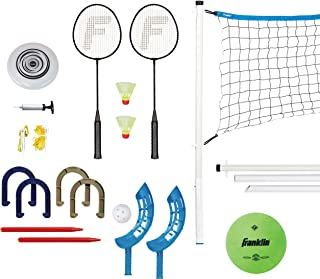Franklin Sports Combo Set: Badminton, Volleyball, Flip Toss, Horseshoes, Flying Disc
