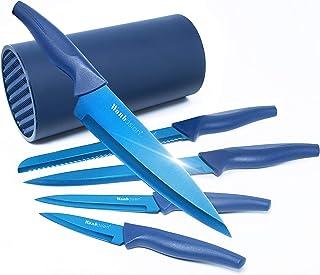 Wanbasion - Juego de cuchillos de cocina profesional de acero inoxidable con bloque, juego de cuchillos con cuchillos y chef