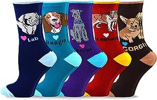 TeeHee Women's Fun Dogs Cotton Crew Socks 5-Pack