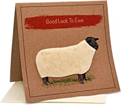 """Lambacraft Sheep Design""""Good Luck to Ewe"""" Text Good Luck Greeting Card with Blank Inside1 Units"""