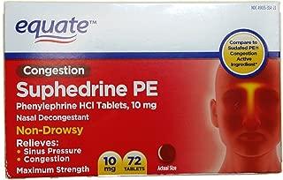 Equate Nasal Decongestant Suphedrine PE Phenylephrine HCl 10mg 72ct