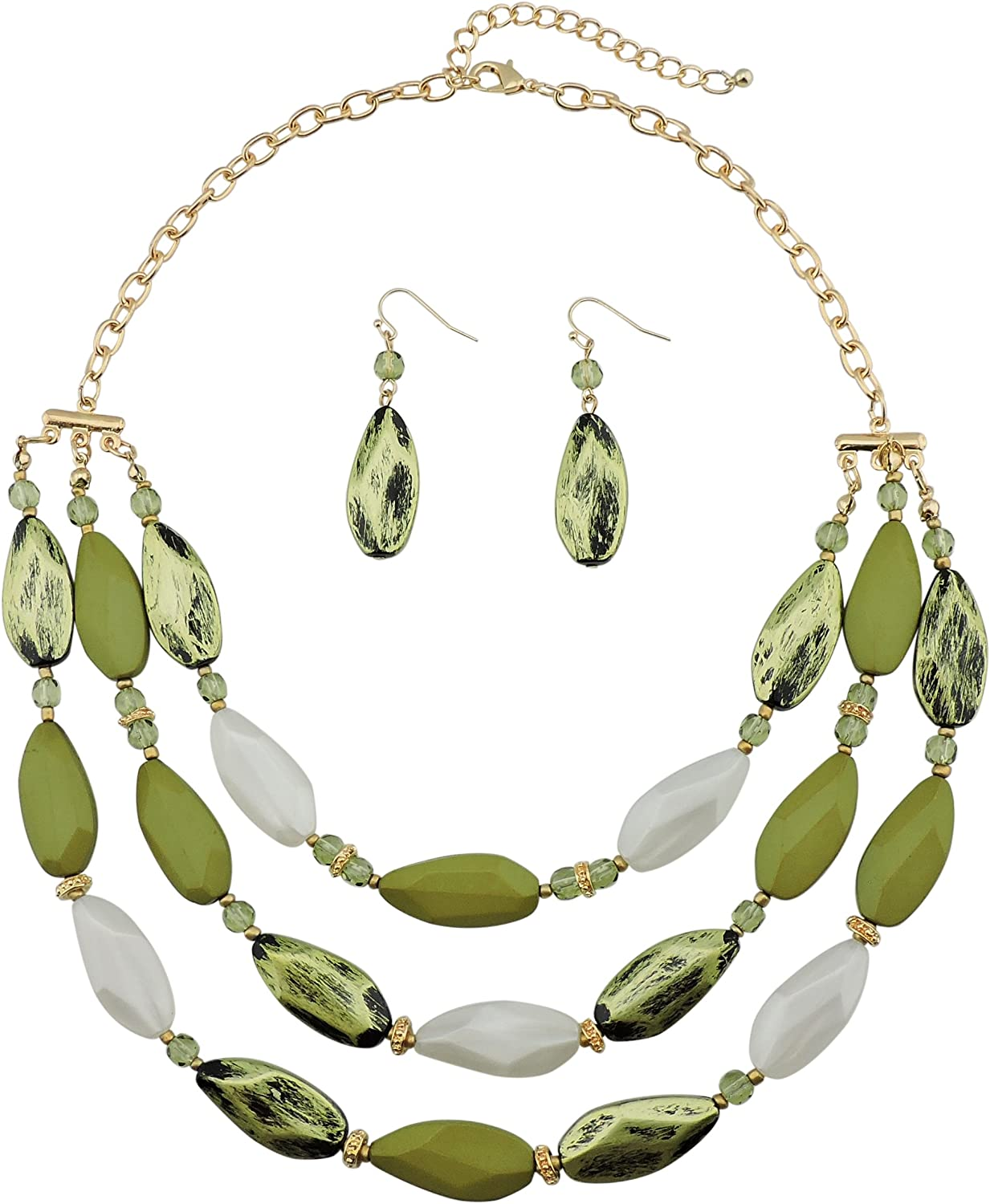 Bocar 3 Layer Beads Statement Necklace Earring for Women Jewelry Set