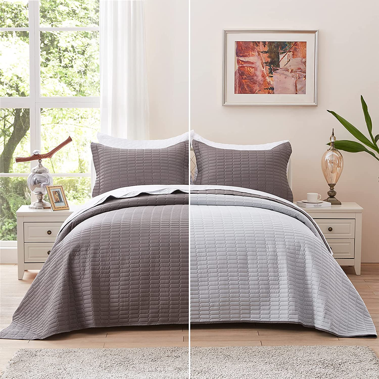 NexHome King Size Mail order Don't miss the campaign cheap Quilt Sets - Bedspread Lightwe Charcoal Grey