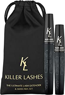 KL Killer Lashes Ultimate Fibre Lash Extender and Mascara | 9ml & 6ml Set | 3D Moonstruck Black Limited Edition - with Travel Pouch | Designed to Maximise Volume and Length | Achieve Killer Lashes Now