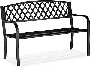 Relaxdays Gartenbank, bequemer 2-Sitzer, geflochtenes Design, für Terrasse & Balkon, HBT 86,5 x 127,5 x 58,5 cm, schwarz