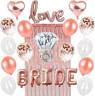 Rose Gold Bachelorette Party Decorations: Bridal Shower Hen Night Kit BRIDE Foil Balloon, 1 Love Silver Diamond Ring, 2 Heart, 12 Latex White Confetti, Metallic Tinsel Fringe Curtain, Wedding Supplies