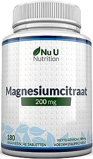 Magnesiumcitraat 200 mg tabletten – Magnesiumtabletten, geen Capsules - 200 mg Elementaire Magnesium per Portie - 180 Vega...