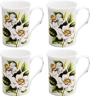 Grace Teaware Bone China Coffee Tea Mugs 9-Ounce (White Magnolia) (Set of 4)
