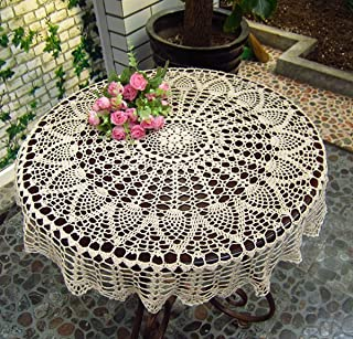 New Beige 36'' Round Handmade Crochet Sunflower Lace Table Cloth Doily N06