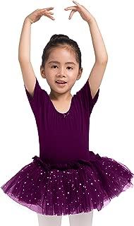 Dancina Girls Skirted Leotard Sparkle Short Sleeve Tutu Ballet Dress Front Lined