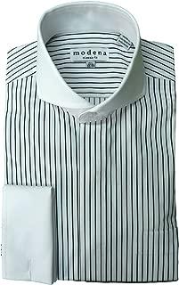 Modena Men's Dobby Striped Cutaway Collar French Cuff Dress Shirt