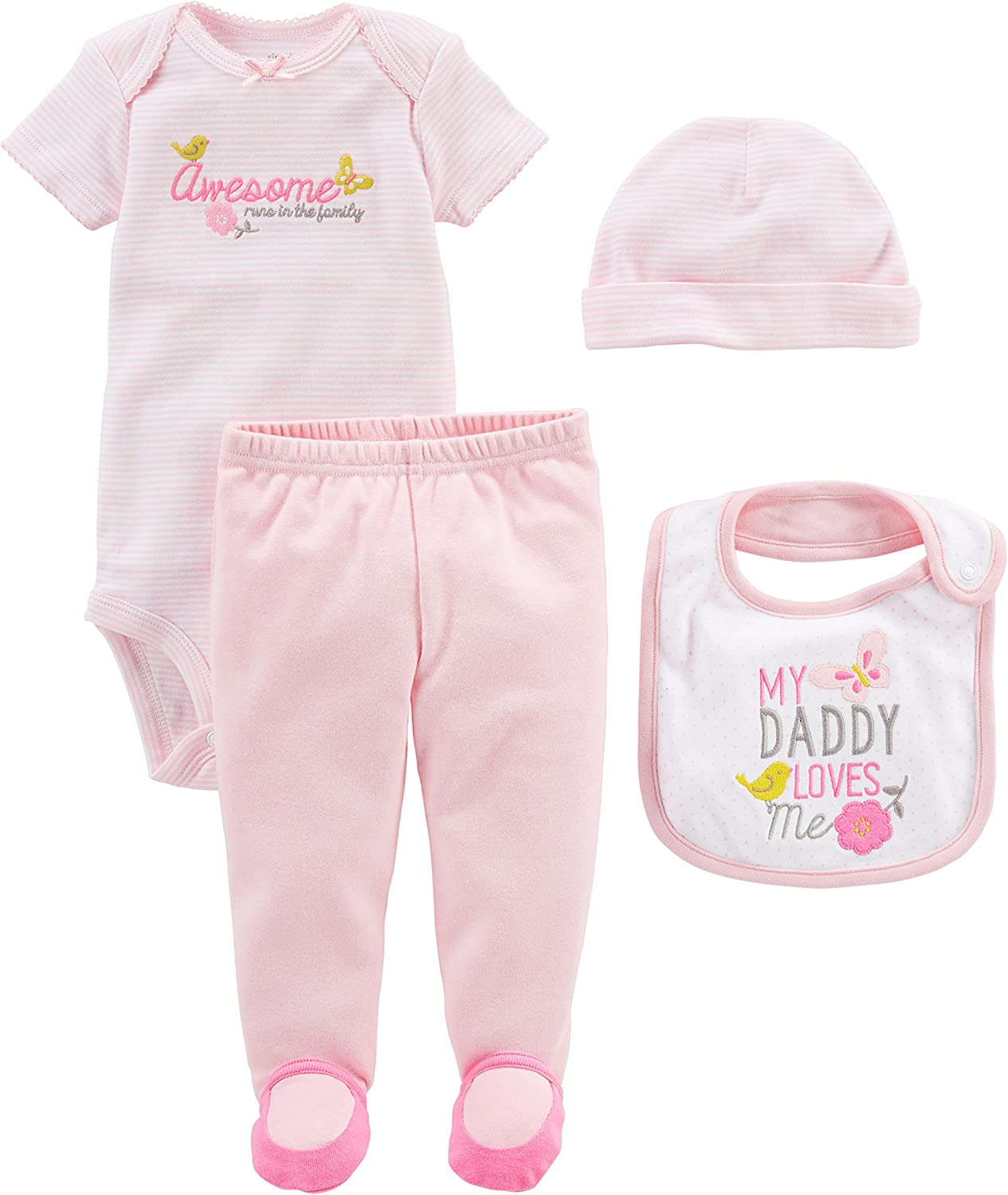 Simple Joys by Carter's Baby Girls' 4-Piece Bodysuit, Pant, Bib and Cap Set, Pink Daddy Loves Me, 6-9 Months: Clothing