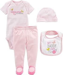 Simple Joys by Carter's Baby Girls' 4-Piece Bodysuit, Pant, Bib and Cap Set