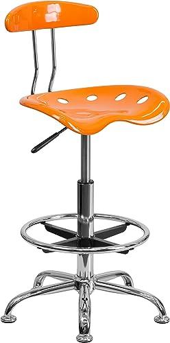 flashfurniture Vibrant Ausarbeitung Hocker mit Traktor Sitz Traditionell Orange