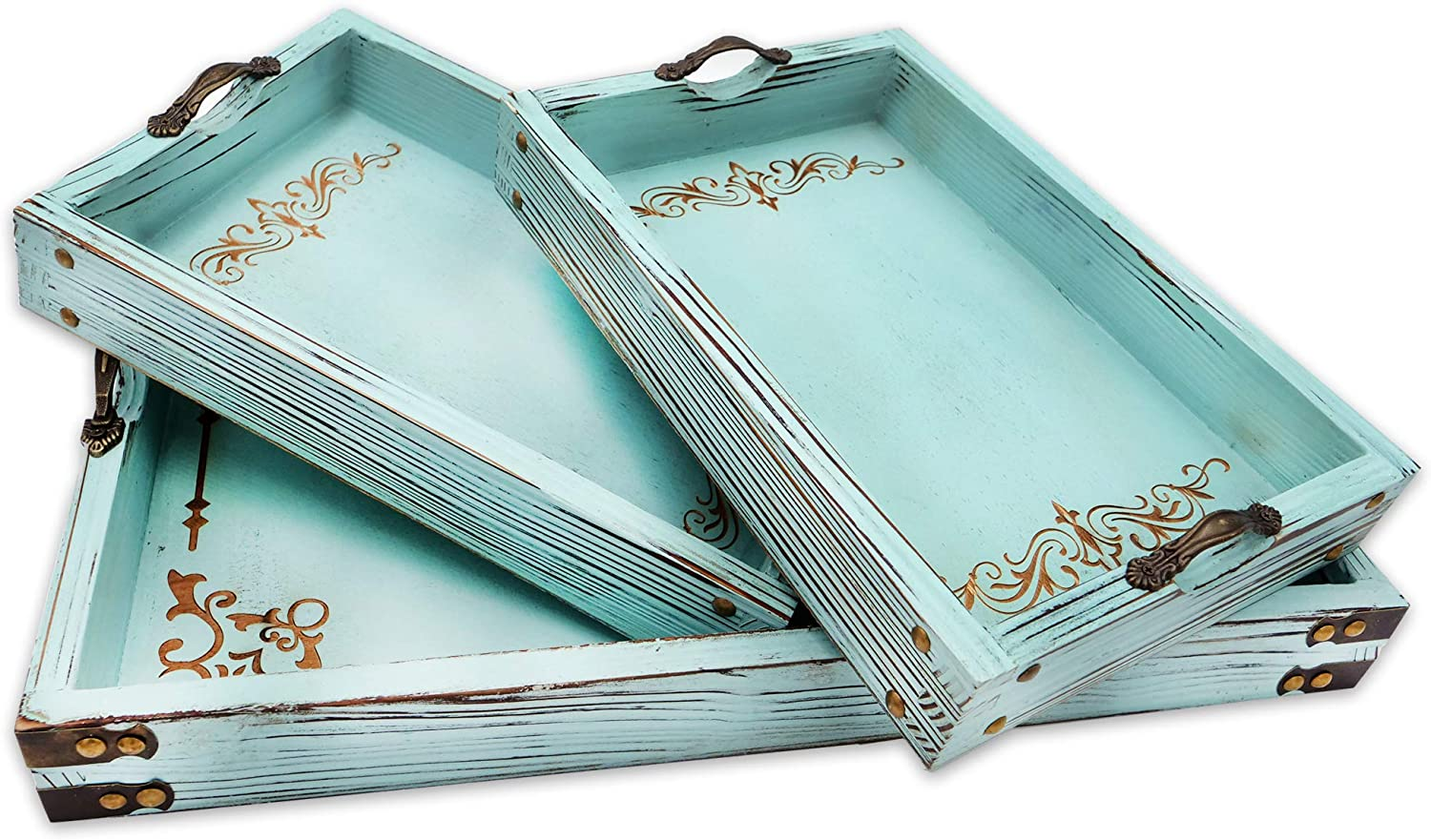 Modern 5th Vintage San Diego Mall Aqua Blue Ottoman Wooden Trays Complete Free Shipping H with Serving