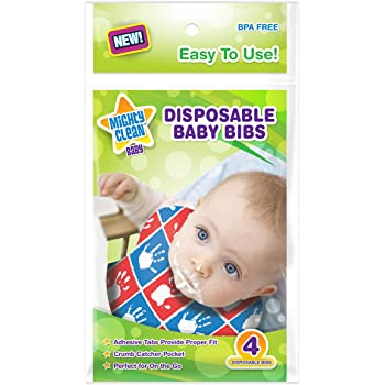 Mighty Clean Baby Disposable Baby Bibs 24 Count (4 Bibs per Package)