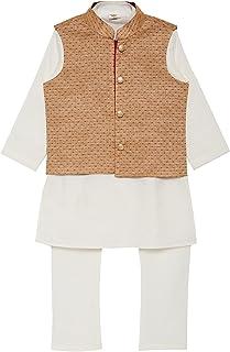 K&U Boy's Offwhite Kurta Pyjama Jacket Set