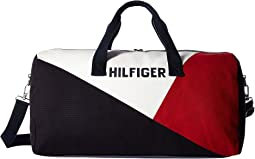Hilfiger Logo Duffel Color Block Canvas