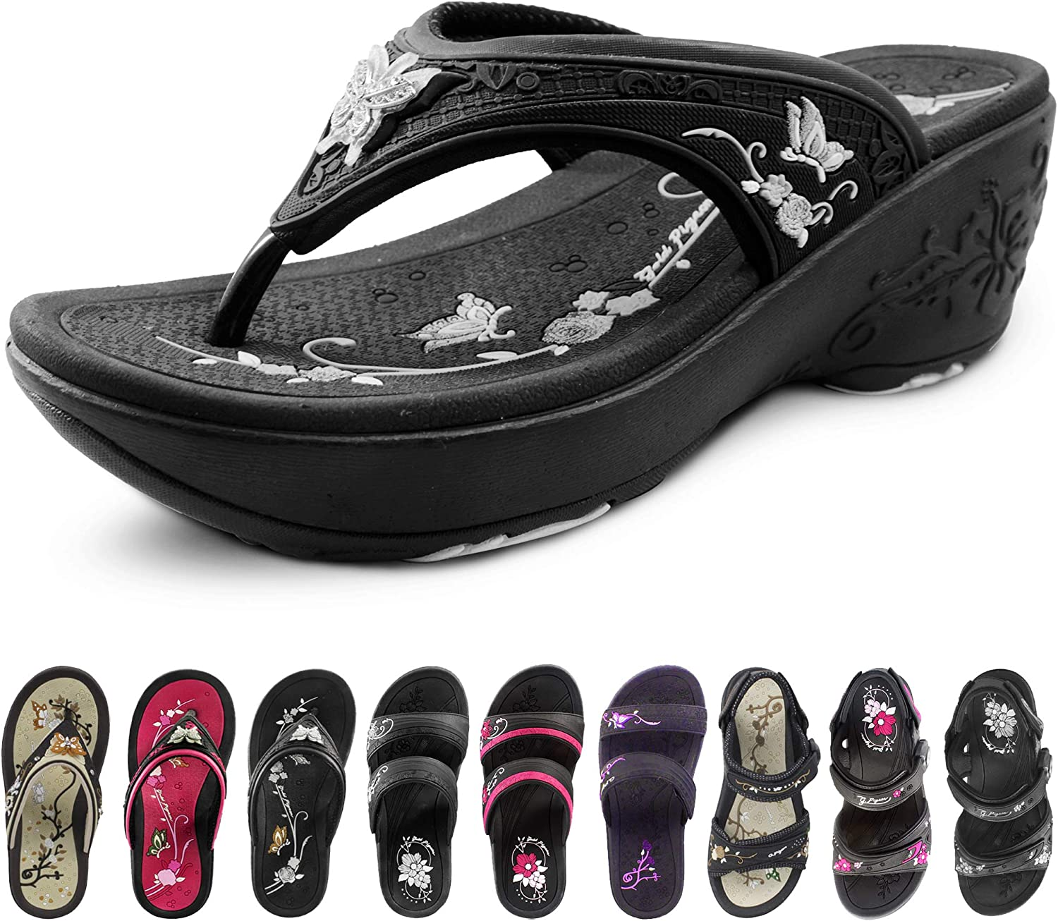Gold Pigeon New product type Shoes Wedge Sandals Max 89% OFF for Flops Flip Comfort Women: Sl