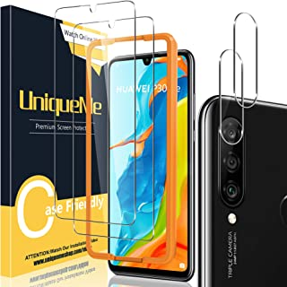 [2+2 Pack] UniqueMe Screen Protector and Camera Lens Protector Compatible for Huawei P30 Lite,HD Clear [Easy Installation ...