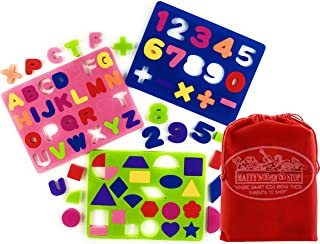 Matty's Toy Stop Deluxe EVA Foam Puzzles Featuring Alphabet, Numbers & Shapes with Storage Bag - 3 Pack (Assorted Bright C...