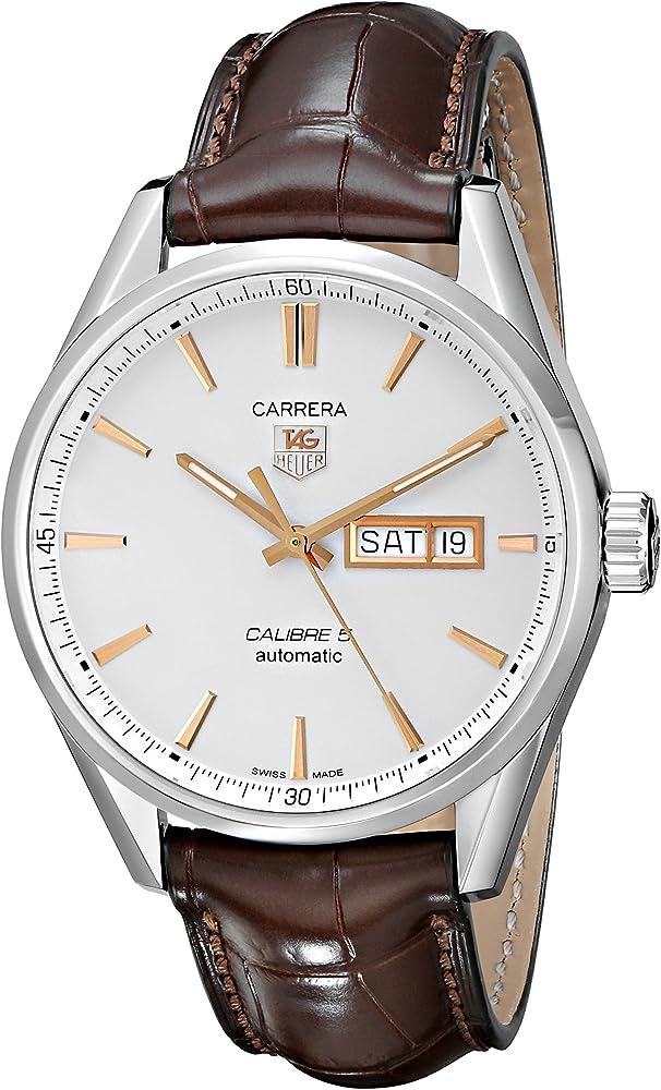 Tag heuer, orologio automatico per uomo, in acciaio e cinturino in pelle di alligatore WAR201D.FC6291