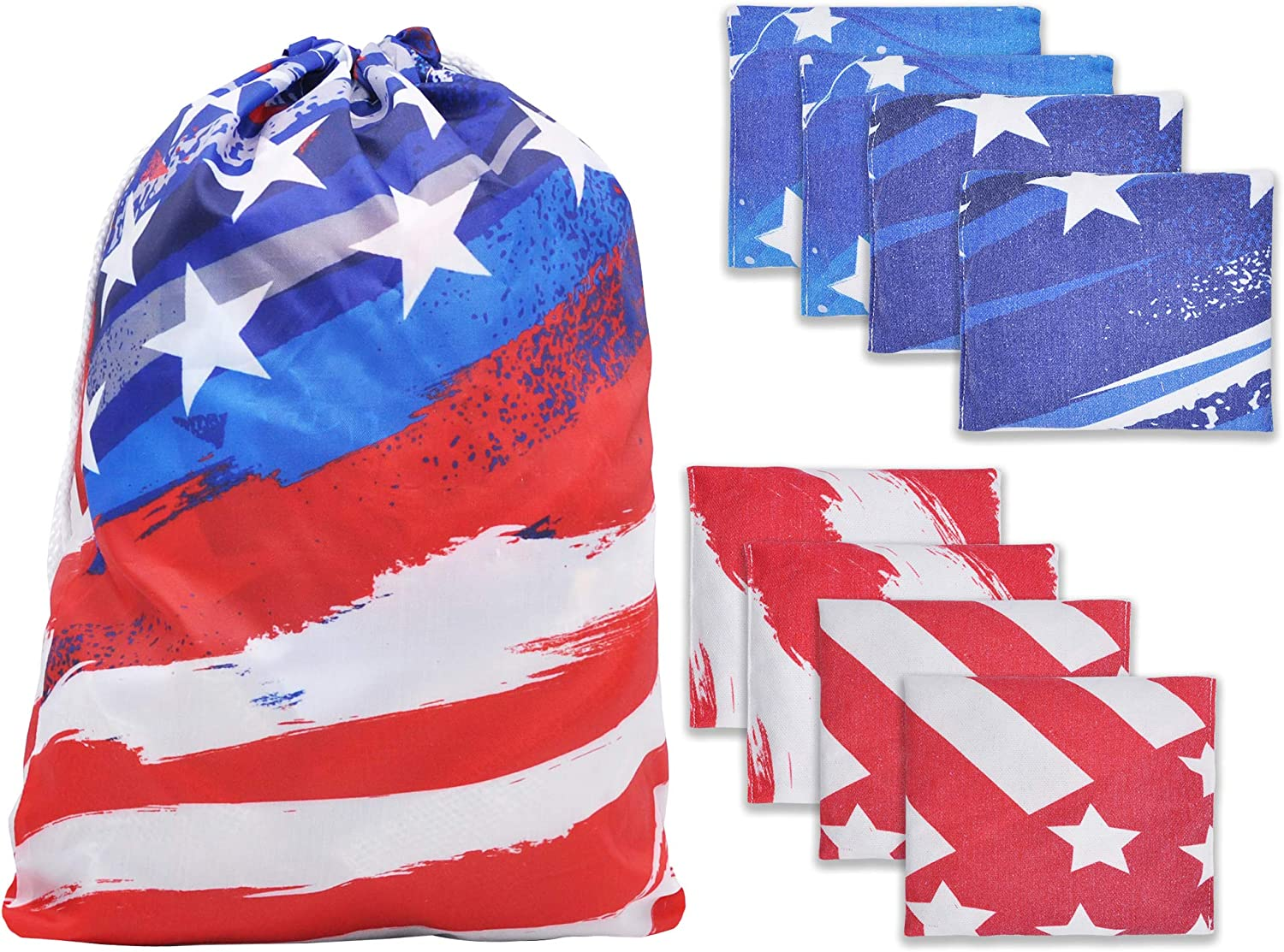 """JOYIN 8 Cornhole Bean Bags 6"""" Weather Resistant with American Flag Tote Bag for Outdoor Parties Corn Hole Toss Games, Cookouts, Barbecues, Reunions, Tailgates : Sports & Outdoors"""