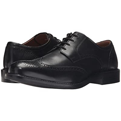 Johnston & Murphy Tabor Casual Dress Wingtip Oxford (Black Calfskin) Men