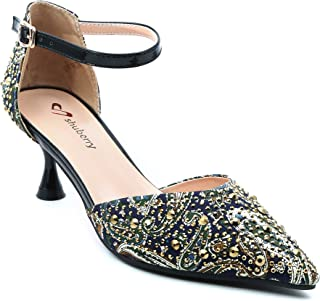 Shuberry SB-19011 Latest Footwear Collection, Comfortable & Fashionable Fabric in Black & Navy Colour Heels for Women & Girls