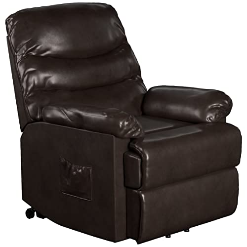 ProLounger Leather Power Lift and Reclining Living Room Chair, Brown