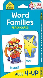 School Zone - Word Families Flash Cards - Ages 4 and Up, Preschool, Kindergarten, Beginning and Ending Sounds, Rhymes, Spelling, Early Reading, and More