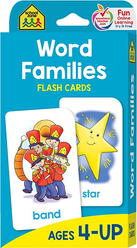 School Zone - Word Families Flash Cards - Ages 4 and Up, Preschool to Kindergarten, Beginning and Ending Sounds, Rhymes, Reading, and More