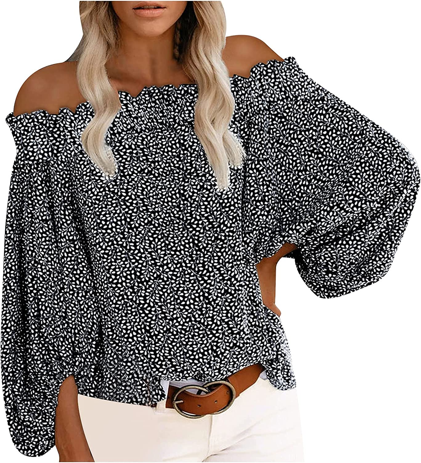 Women's Sexy Tops Off Shoulder Shirts Lantern Sleeve Blouse Stylish Oversized T Shirt Loose Fit Floral Tees