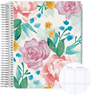 """18 Month 7"""" x 9"""" Spiral Coiled Vertical Weekly Life Planner/Agenda (July 2021 - December 2022). Watercolor Blooms Flexible..."""