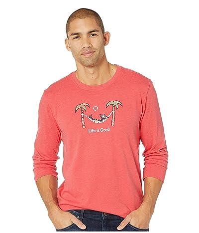 Life is Good Jake Hammock Grill Crusher Long Sleeve T-Shirt (Heather Americana Red) Men