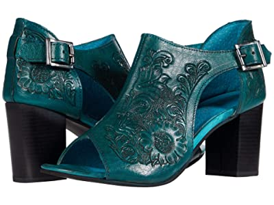 Roper Mika Closed Back (Turquoise Floral Tooled Leather) Women