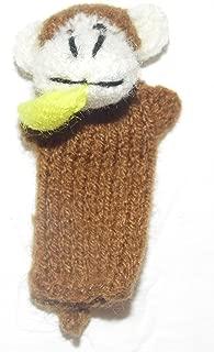 Beige Monkey with Banana Finger Puppet From Peru Handmade Alpaca Wool