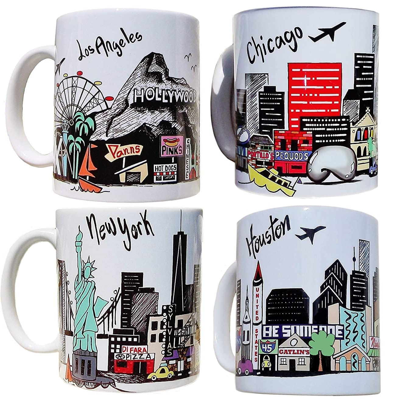 Los Angeles - New York - Chicago - Houston - City Skyline Coffee Mug Set of 4 - Your Choice