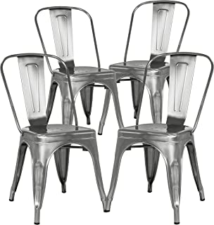 Poly and Bark Trattoria Kitchen and Dining Metal Side Chair in Polished Gunmetal (Set of 4)