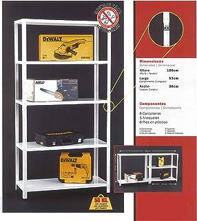 NAWA Kit Estantería Metálica 180x93x30cm Blanca 5 Baldas Capac. 50 kg