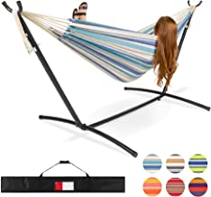 Best Choice Products 2-Person Brazilian-Style Cotton Double Hammock Bed w/Carrying Bag, Steel Stand, Ocean