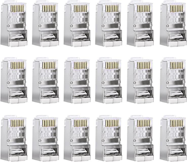 Sumind 50 Piezas Conductor Cat6 Conector RJ45 8P8C Blindado para STP Ethernet Network Cable Enchufe Modular