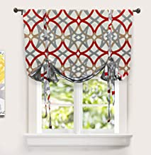 DriftAway Alexander Spiral Geo Trellis Pattern Tie Up Curtain Room Darkening Thermal Insulated Blackout Window Adjustable Balloon Curtain for Small Window Rod Pocket 45 Inch by 63 Inch Red and Gray